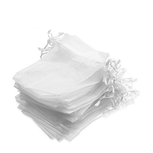(50 Pack 4x5 inches White Organza Bag,Drawstring Gift Pouch,Chocolate Mesh Gift Bag Wedding Bags,Sachet Bags Sheer Organza Pouches,Favor Jewelry Bags)
