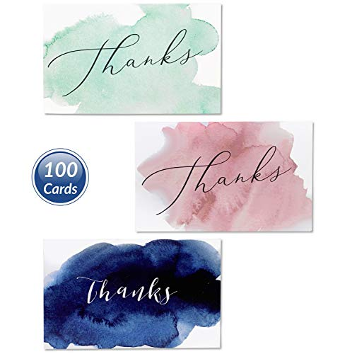 3-in-1 Best Thank You Cards & Envelopes Set, Bulk 100 Count 3.5 x 5 w/Blank Inside Card. Unique Watercolor Design. Personalized Baby Shower, Wedding and Bridal, Birthday, Party, Small Business Notes .