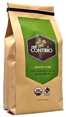 Cafe Contibio Master Blend Organic & Fairtrade Certified Gourmet Coffee Beans (1 Pound) 100% Arabica Specialty Grade Medium Roast