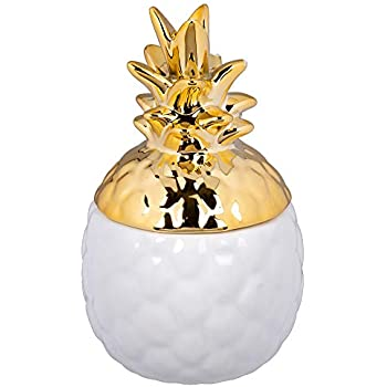 CTG, Decorative Pineapple Storage Jar, 3 x 5 inches, White