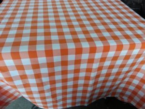 ArtOFabric Checkered Tablecloth 58 Inches X 72 Inches 100% Polyester    Orange