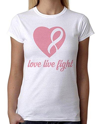 Junior's Love Live Fight Breast Cancer Ribbon Heart Tee B1047 PLY White T-Shirt Medium