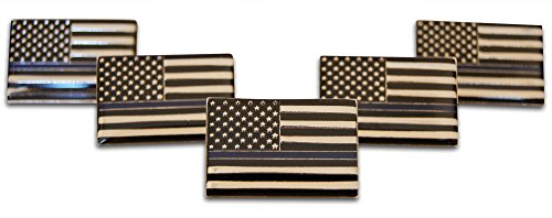 Thin Blue Line Police American Flag 5-Piece Lapel, Hat Pin, & Tie Tack Set with Clutch Back Novel (Police Hat Pin)