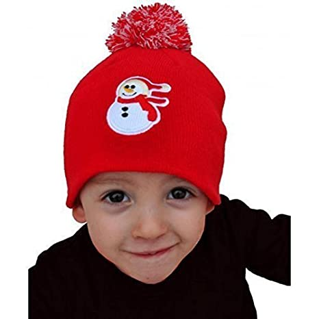 Carino Bambini Cappello natalizio   Cappello lavorato a maglia con Bommel    Cappello invernale   Berretto 90bd95ed4db9