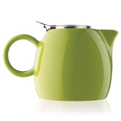 Tea Forte PUGG 24oz Ceramic Teapot with Improved Stainless Tea Infuser, Loose Leaf Tea Steeping For Two, Pistachio Green (Ceramic Glazed Green Pistachio)