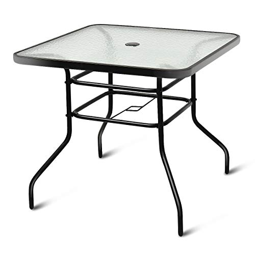 - Tangkula Patio Table Outdoor Garden Balcony Poolside Lawn Glass Top Steel Frame All Weather Dining Bistro Table (Square Black 32