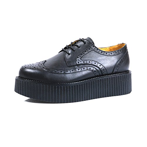 RoseG Men's Brogues Leather Lace Up Platform Punk Creepers Oxfords