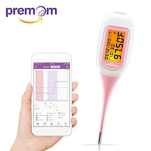 Premom Ovulation Predictor App Integrated Easy@Home Smart Basal Thermometer Simplest Ovulation and Period Tracker with Auto BBT Sync, Charting, Coverline and Accurate Fertility Prediction - (Ovulation Tracker)