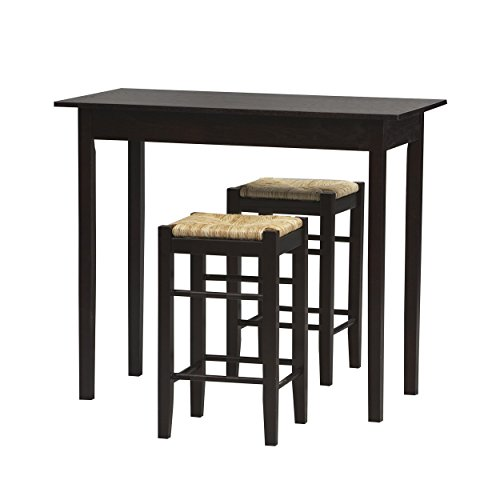 Espresso 3-Piece Dinette Set with One Table and Two Stools, Crafted From a Blend of Medium Density Fiberboard, Stools Are Topped with Woven Rice Rush Seats, Perfect Choice for Compact Spaces by GAShop