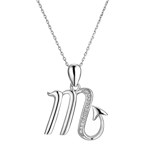 (VIKI LYNN Scorpio Pendant Necklace 925 Sterling Silver Zodiac Sign Constellation Horoscope Necklace with Cubic Zirconia)