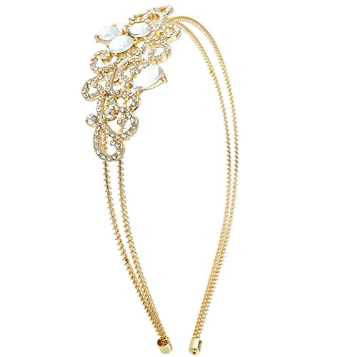 Lux Accessories Gold Tone Bride Bridal Wedding Embroidered Stone Wire - Stone Embroidered