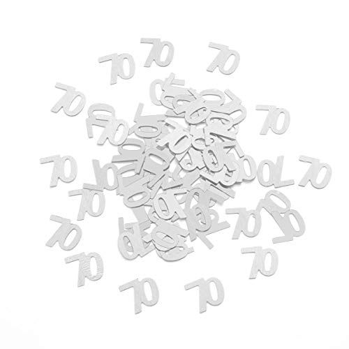 Amosfun 1200pcs 70th Birthday Table Confetti for 70th Birthday Wedding Anniversary Party Decorations Supplies (Silver) (Silver Anniversary Confetti)