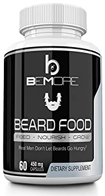 beMore BEARD FOOD | Grow Thicker Fuller Beards Faster with our Pharmaceutical Grade Facial Hair Growth Supplement fortified with Biotin Vitamins | So Say NO to Greasy Beard Oils & Hair Loss Treatments