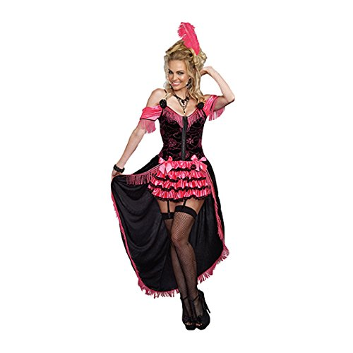 Dreamgirl Women's Whiskey Girl Saloon Costume, Black/Pink, Small ()