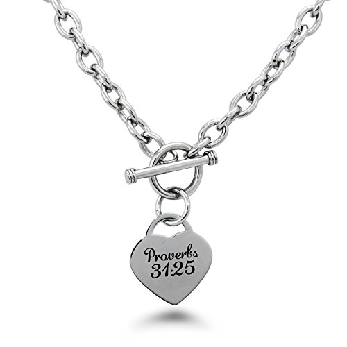 Tioneer Stainless Steel Proverbs 31:25 Heart Charm, Necklace Only ()