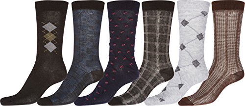 Sakkas Mens Pattern Dress Socks Value Assorted 6-Pack