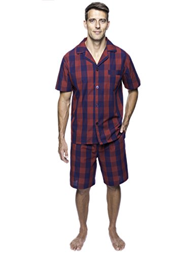 Noble Mount Twin Boat Men's Cotton Short Pajama Set - Gingham Red/Navy - ()