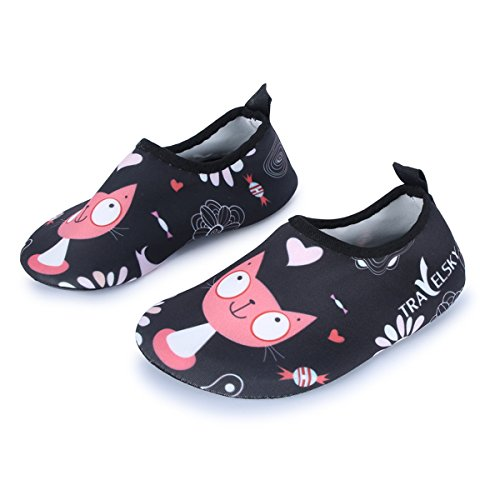 JIASUQI Kids Barefoot Comfort Casual Sports Water Shoes,Black/Cat US 11-11.5 M Little Kid Cat Casual Shoes