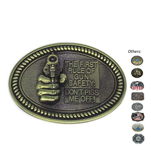 Western Gunman Oval Belt Buckle for Men Women Buckles for belts Western Belt Buckles for Cowboy ()