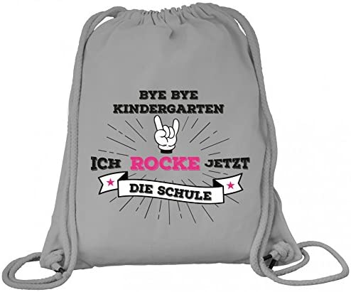 ShirtStreet Einschulungsgeschenk Erstklässler Schulkind Premium Bio Baumwoll Turnbeutel Rucksack Stanley Stella Mädchen Rock Hand - Bye Bye Kindergarten