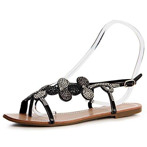 Femmes Noir Topschuhe24 Sandales Topschuhe24 Sandalettes Sandales Femmes UqTaw8