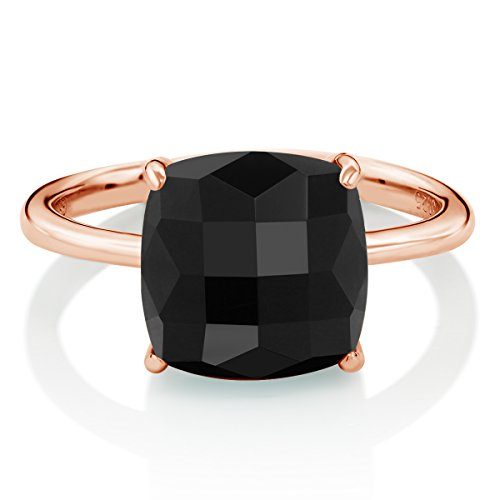 Gem Stone King Sterling Silver Rose Gold Plated Checkerboard Square Black Onyx Ring 3.75 Ctw