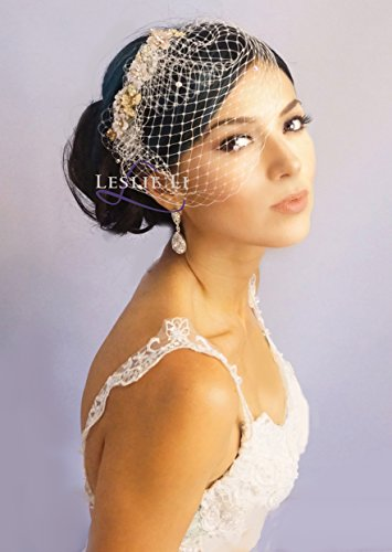 Leslie Li Women's Rose Gold Blush Floret Hair Comb and Bridal Birdcage Veil Ivory (Leslie Cage)
