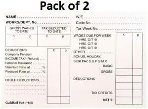 Pack de 2 slips salarial, pagar Slips 100 hojas por bloc (200 hojas de pago total). Paye: Amazon.es: Oficina y papelería
