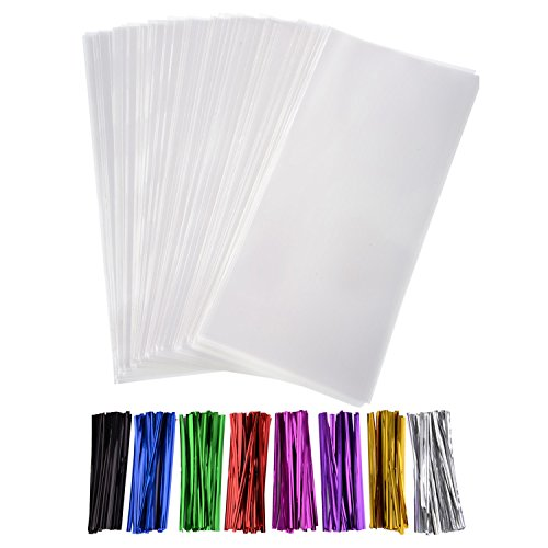 Outus 300 Pack Clear Treat Bags Clear Cello Bags with 320 Pieces Twist Ties 8 Colors for Wedding Cookie Gift Candy Buffet Supply (4 x 9 Inches) (Clear Treat Bags)