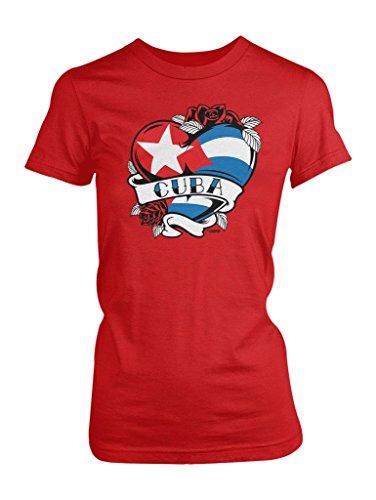 LOGOPOP Women's Cuba Tattoo Heart Flag T-Shirt, 2XL, Red
