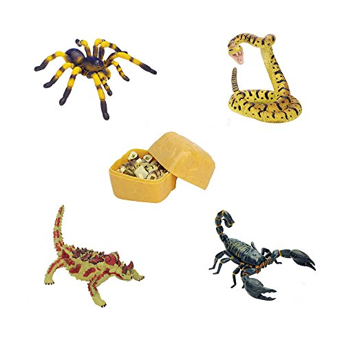 Prairie Animals - Assorted 4pcs/set Realistic 3d Desert Animal Puzzles Blocks Diy Tarantula Viper Thorny Devil Scorpioned Models Kids Educational Toy 2766