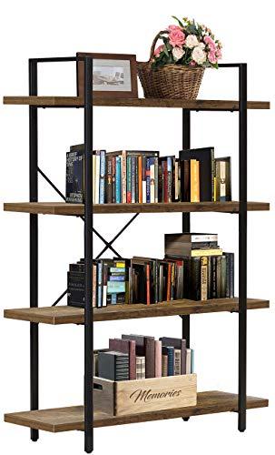 Sorbus Bookshelf 4 Tiers Open Vintage Bookcase Storage Organizer, Modern Industrial Style Bookshelves Furniture for Home Office, Wood Look & Metal Frame (4-Tier, Retro Brown)