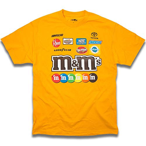 Checkered Flag Men's 2018 NASCAR Uniform Sponsor T-Shirt (Kyle Busch-M&M's-Gold, Medium)