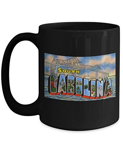(Greetings from South Carolina, Vintage Large Letter Postcard Design: Ceramic Coffee Mug)
