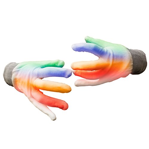 Fun Central G722 LED Light Up Rainbow Gloves - 2pcs