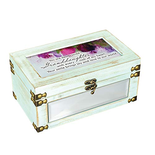 Cottage Garden Granddaughter Joy Distressed Celadon Green Metal and Wood Music Box Plays You are My Sunshine ()