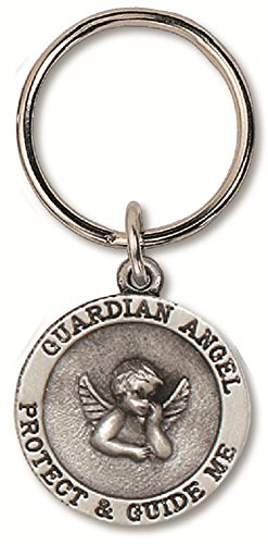 Guardian Angel Protect & Guide Me Auto Pewter Keychain with Ring on Card