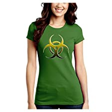 Biohazard Symbol Yellow Stone Apocalypse Juniors Crew Dark T-Shirt – Kiwi Green – 4XL