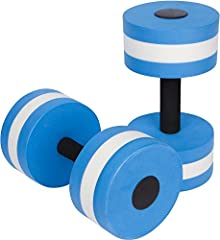 "These easy to store aquatic barbells are a perfect addition to your water aerobics workout. They come as a set of 2 and each weighs .66lbs. Made from EVA foam, they measure 11""long x 6""wide. While the EVA foam has low water absorption, we recommend s..."