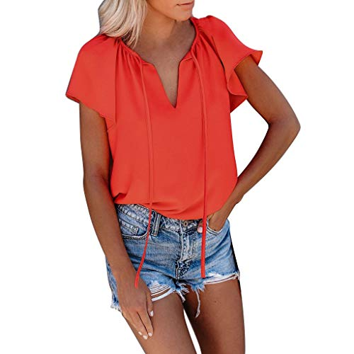 (Summer Tops for Women 2019 Prime Tronet Women's Summer Short Sleeves V Neck T Shirt Pure Color Casual Basic Tops)