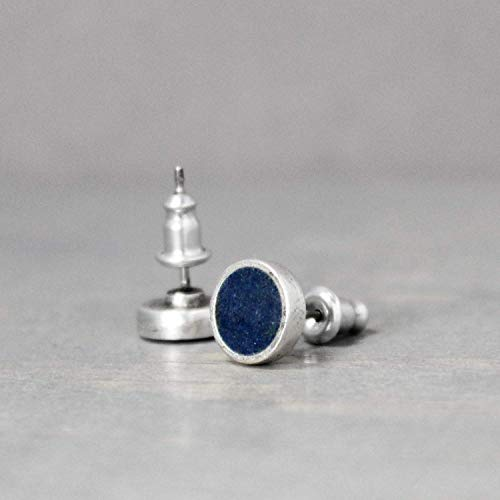 Dark Blue Azurite Gemstone Stud Earrings Gift for ()