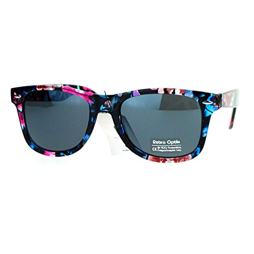Floral Flower Print Sunglasses Classic Designer Fashion Square Frame Blue - Sunglasses Print