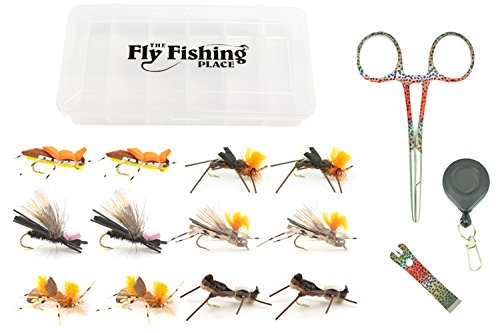 Big Hopper - Fishing Gift Set: Rainbow Trout Fishing Tools and Big River Foam Hopper Fly Fishing Flies Assortment - 12 Flies - 2 Each of 6 Trout or Bass Flies with Fly Box