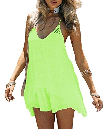 Kingfung Women's Summer Casual Sundress Chiffon Sleeveless Tank Beach Shift Dress(neon - Neon Summer Women Green Dress