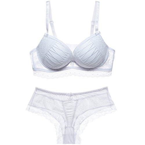 Scarleti 1 Set Women's Sexy Bra-Ladies Lace Underwire Push-up Bra&Everyday Bras (75B, White)