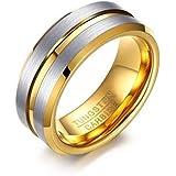 خاتم مصنوع من التنغستين مع ختم داخل الفضة والذهب في الخط النص والمقاس 8
