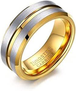 خاتم مصنوع من التنغستين مع ختم داخل الفضة والذهب في الخط النص والمقاس 12