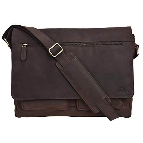 Genuine Leather Messenger Bag for Men and Women – 14 inch Laptop Bag for College Work Office by LEVOGUE (Brown Hunter)