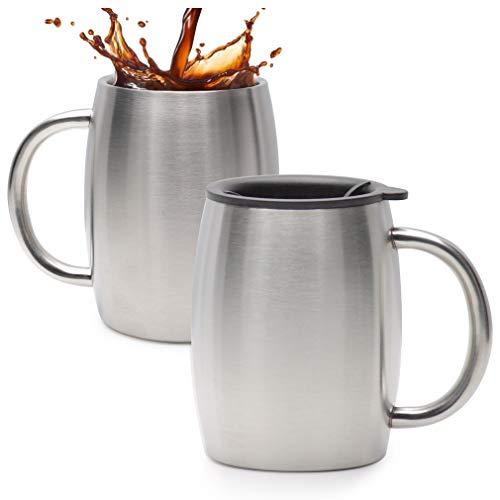 14 Ounce Thermal Mug - Stainless Steel Coffee Mug With Lid Set Of 2 - Double Wall Insulated Coffee Mugs - 14 Oz Stainless Steel Coffee Cups - Perfect For Hot & Cold Drinks