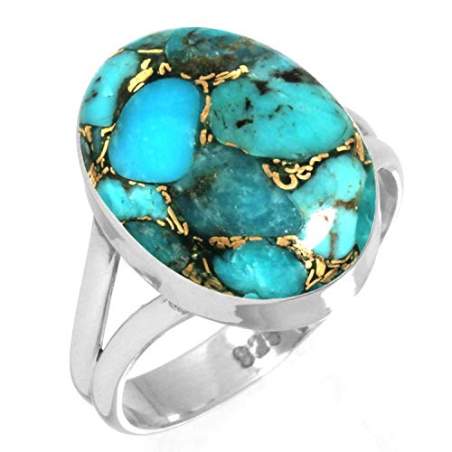 925 Sterling Silver Ring Copper Blue Turquoise Handmade Jewelry Size 13 ()